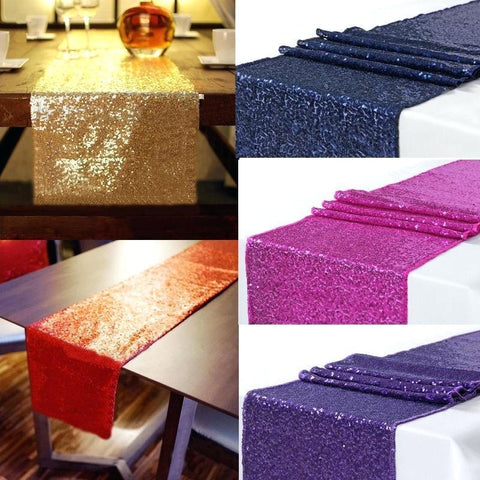 Sequin Table Cloth Runner Wedding Party Decor, Homeware4u.com