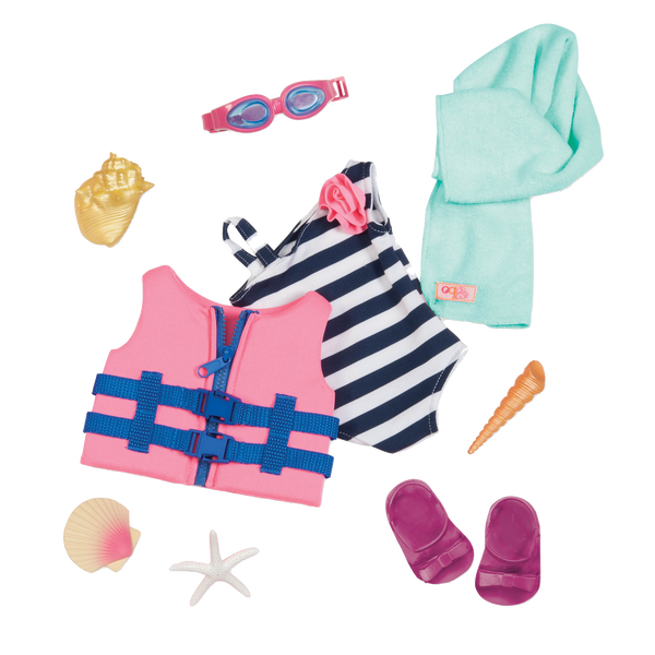 Our Generation Sun Day Fun Day Deluxe beach outfit for 18-inch dolls, Homeware4u.com