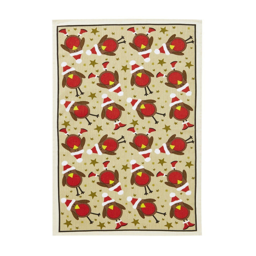 Ulster Weavers Robin with Santa hat Tea Towel, Red,, Homeware4u.com