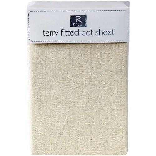 Cotton Rich Fitted Terry Towelling Cot Sheet in Cream, Homeware4u.com