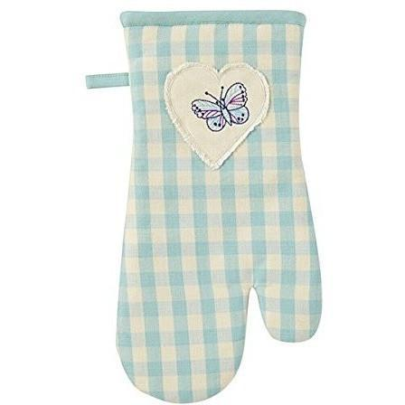 Ulster Weavers Gingham Duck Egg Gauntlet Single Oven Glove, Homeware4u.com