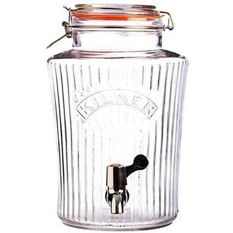 Kilner Vintage Drinks Dispenser,curved shape with Riged Clear Glass, 8 Litre, Homeware4u.com