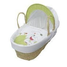 Kinder Valley Quiet As  Mouse Moses Basket White/Green, Homeware4u.com