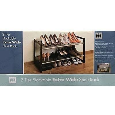 NEU 2 Tier Stackable Extra Wide Shoe or Storage Rack, Homeware4u.com