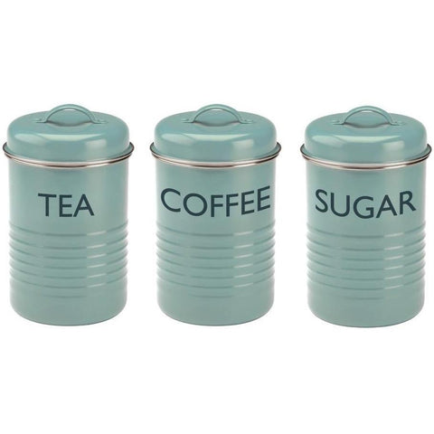 Typhoon Vintage Kitchen Vintage Blue 3 Piece Tea Coffee Sugar Storage, Homeware4u.com