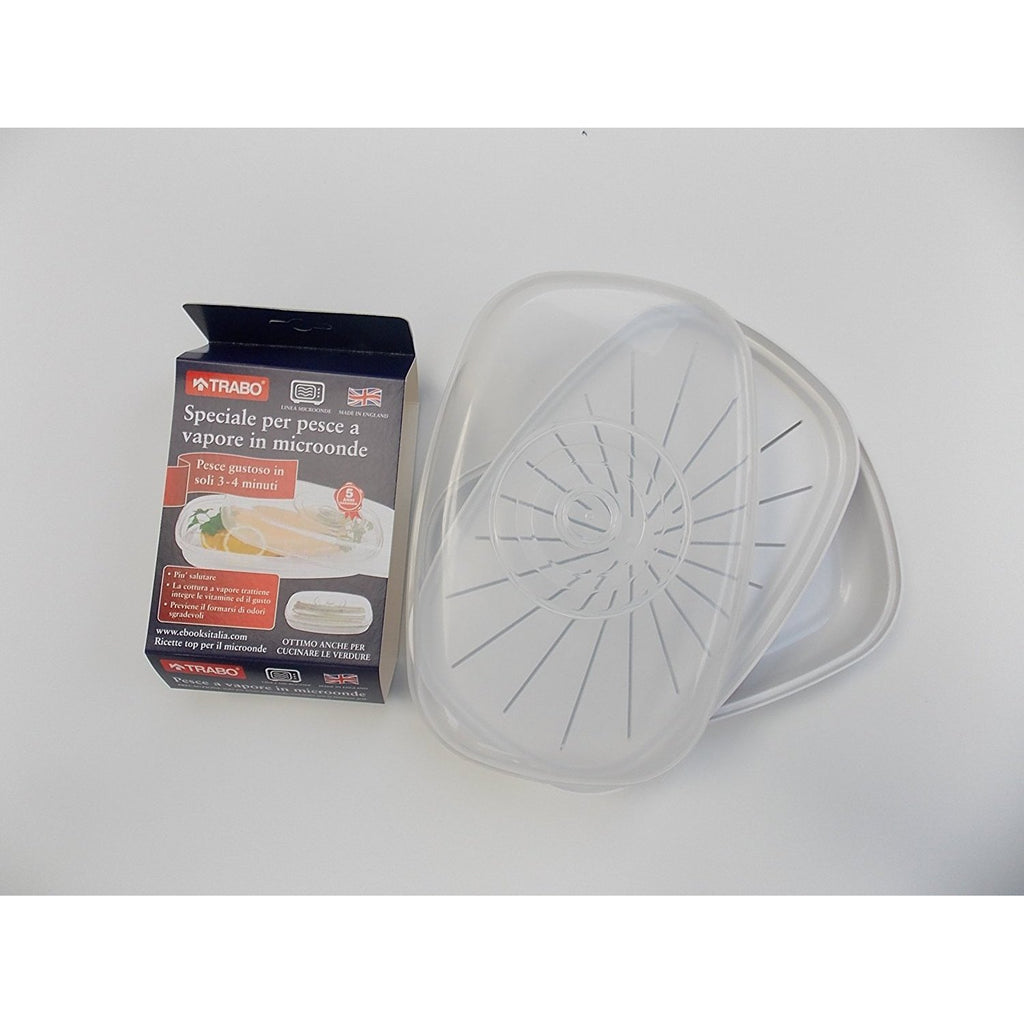 Trabo Fish Steamer opaque and white EMWST0085, Homeware4u.com
