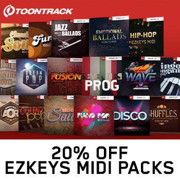 ENDS 31ST AUGUST - 20% off Toontrack EZkeys MIDI packs