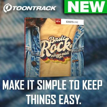 NEW RELEASE: Toontrack Basic Rock EZkeys MIDI pack