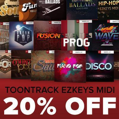 ENDS 31ST OCTOBER - Save 20% on all Toontrack EZkeys MIDI packs