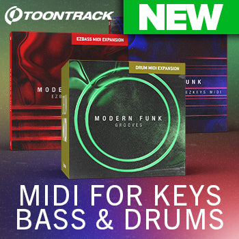 NEW! Toontrack Modern Funk MIDI Packs for Drums, EZkeys & EZbass