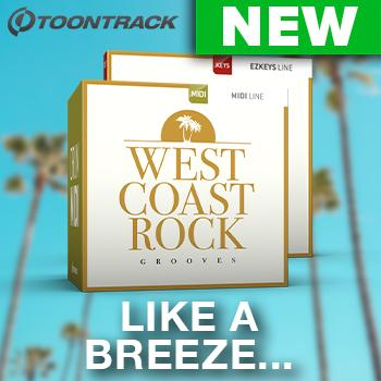 NEW RELEASE: Toontrack release West Coast Rock MIDI packs for EZkeys and drums