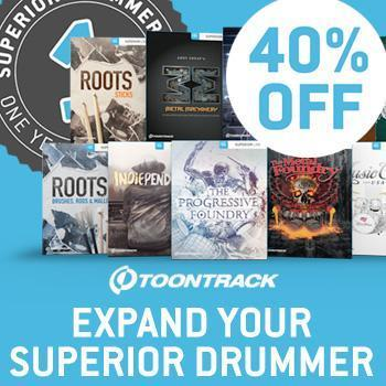 Ends 30th September - 40% off all Toontrack SDX Expansions