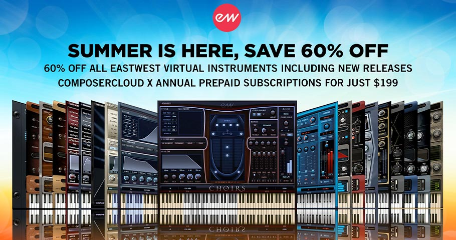 EastWest 60% off virtual instruments