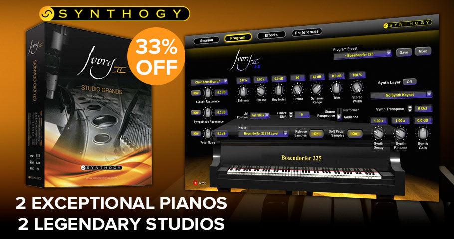 Save 33% off Synthogys Ivory ll Studio Grands