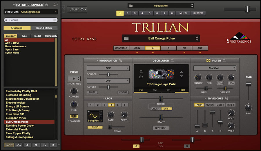Spectrasonics Trilian v1.5 Synth features