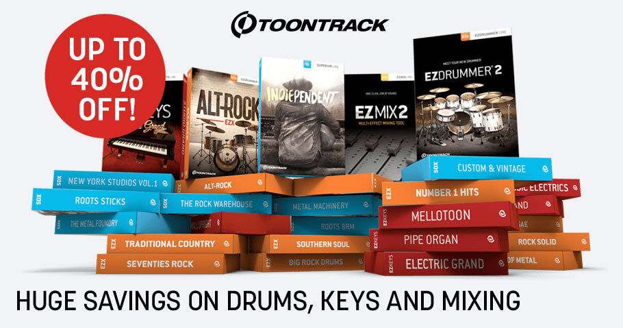 Toontrack drums, keys and mixing deals