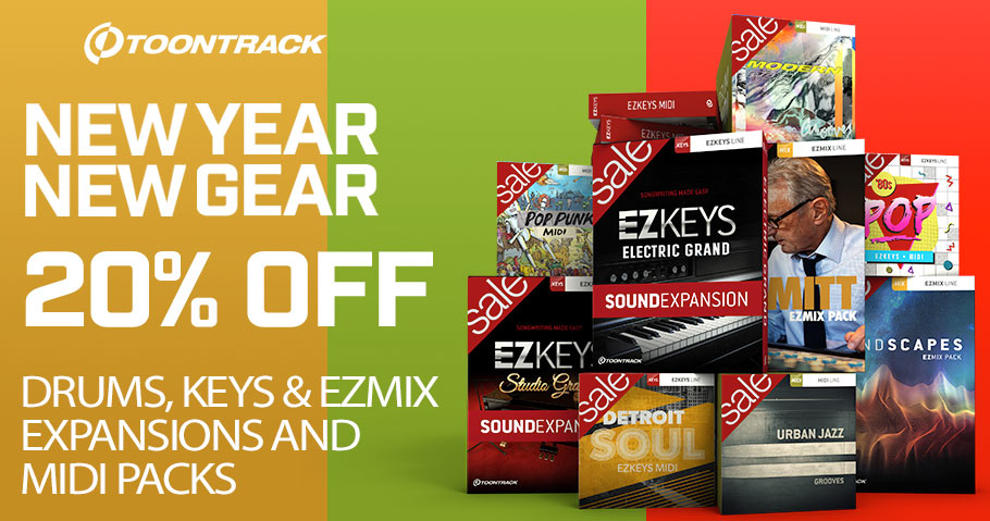20% off Toontrack drums and keys midi packs, ezmix presets and ezkeys sound expansions