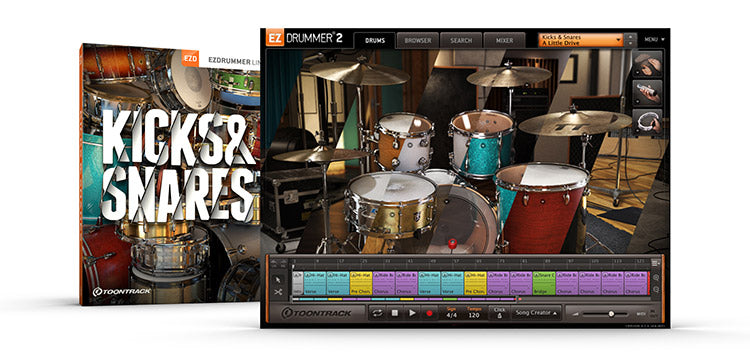 Toontrack Kicks and Snares box and screenshot