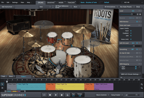 Toontrack Roots, Brushes, Rods & Mallets GUI