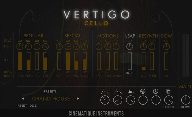 Cinematique Instruments Vertigo Cello interface