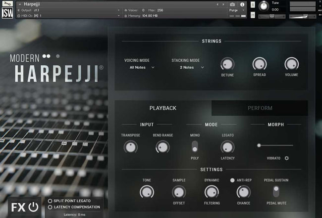 Impact Soundworks Modern Harpejji interface
