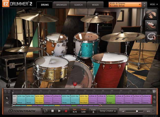 Toontrack Kicks and Snares EZX interface