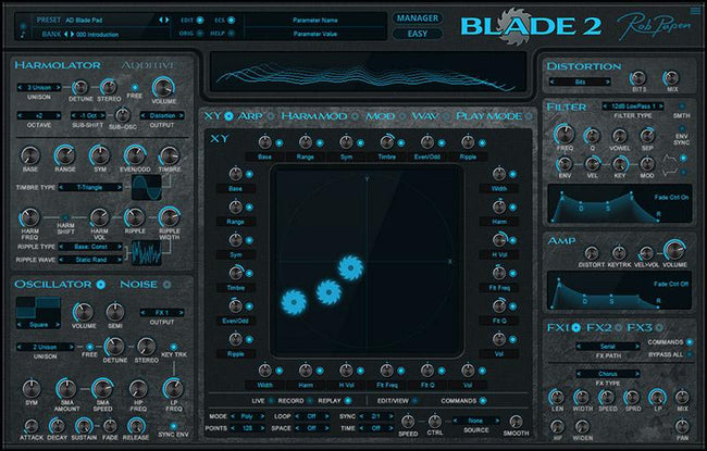 Rob Papen Blade 2 synth plugin GUI Main Page