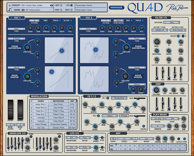 Rob Papen Quad main GUI