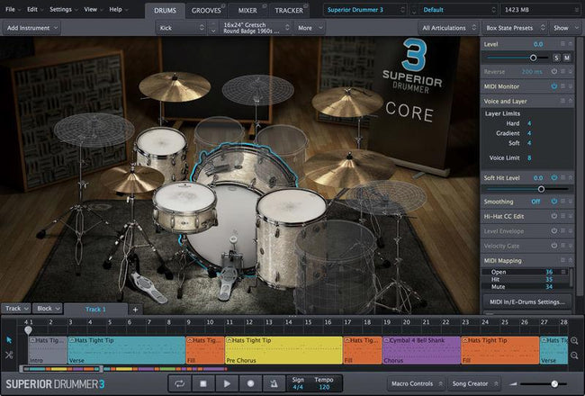 Toontrack Superior Drummer 3 interface