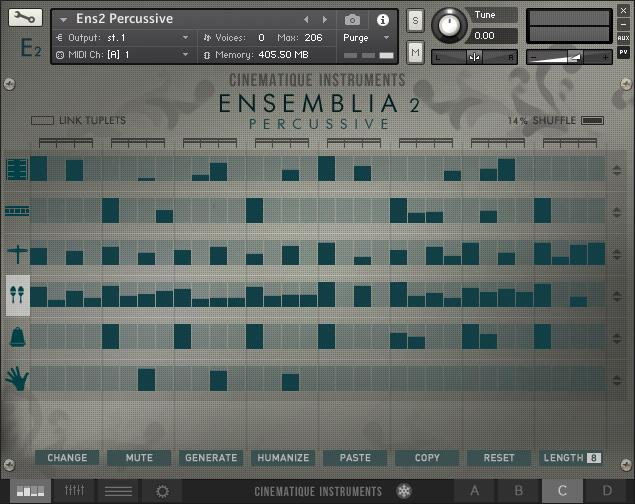 Cinematique Instruments Ensemblia 2 Percussive GUI Arranger