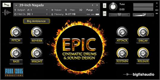 Big Fish Audio Epic Cinematic Drums & Sound Design GUI