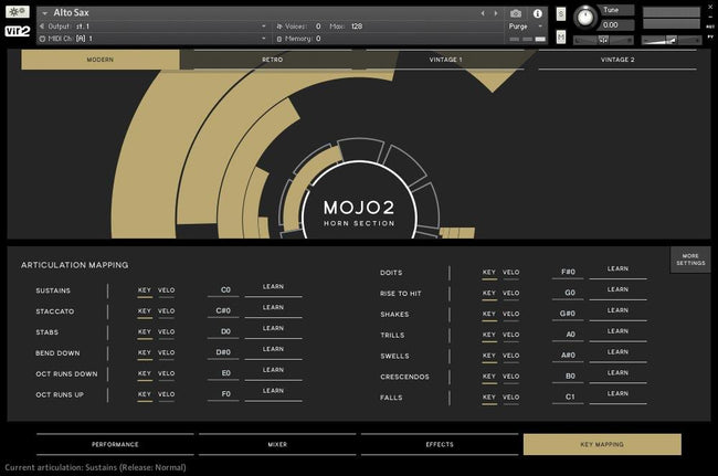 Vir2 Instruments MOJO 2: Horn Section Key Mapping Page GUI