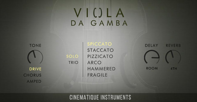 Cinematique Instruments Viola Da Gamba GUI
