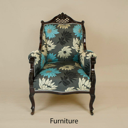 Grey floral armchair