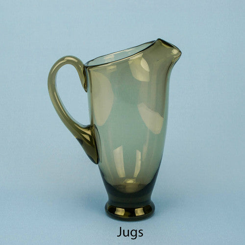 Smokey grey glass water jug