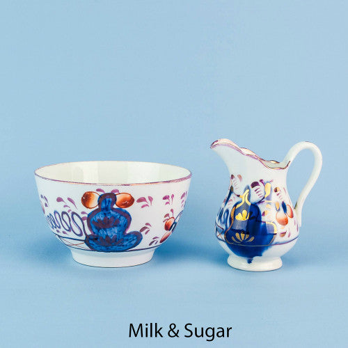 Gaudy Welsh milk and sugar set