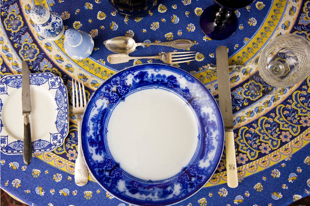 Antique flow blue and white table setting