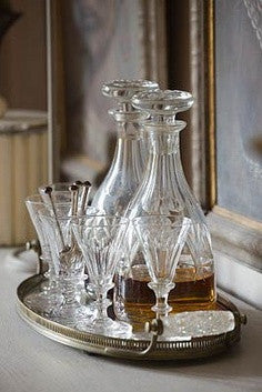 Decanters and glasses on tray