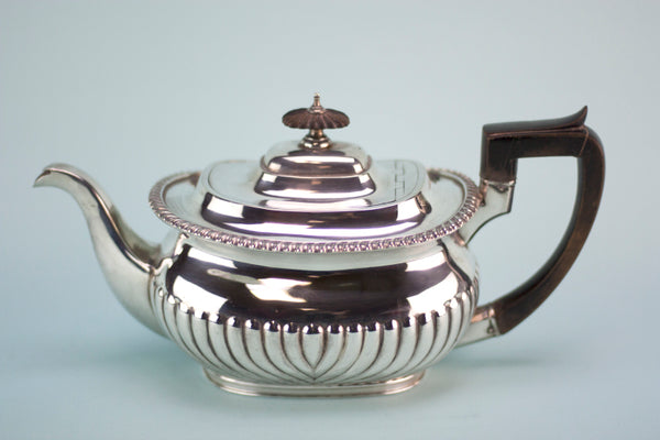 Polished silver teapot