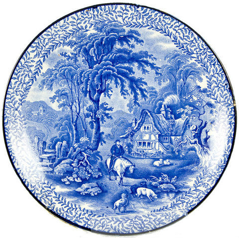 Blue and white landscape plate