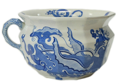 Blue and white dragon planter