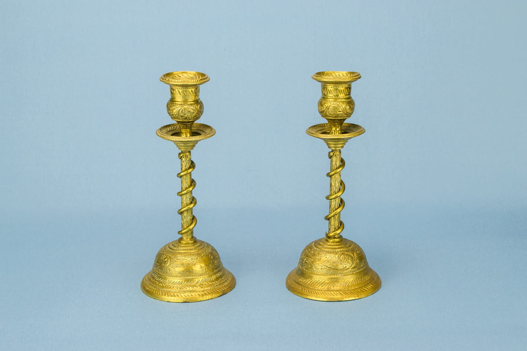 2 coiled brass candlesticks
