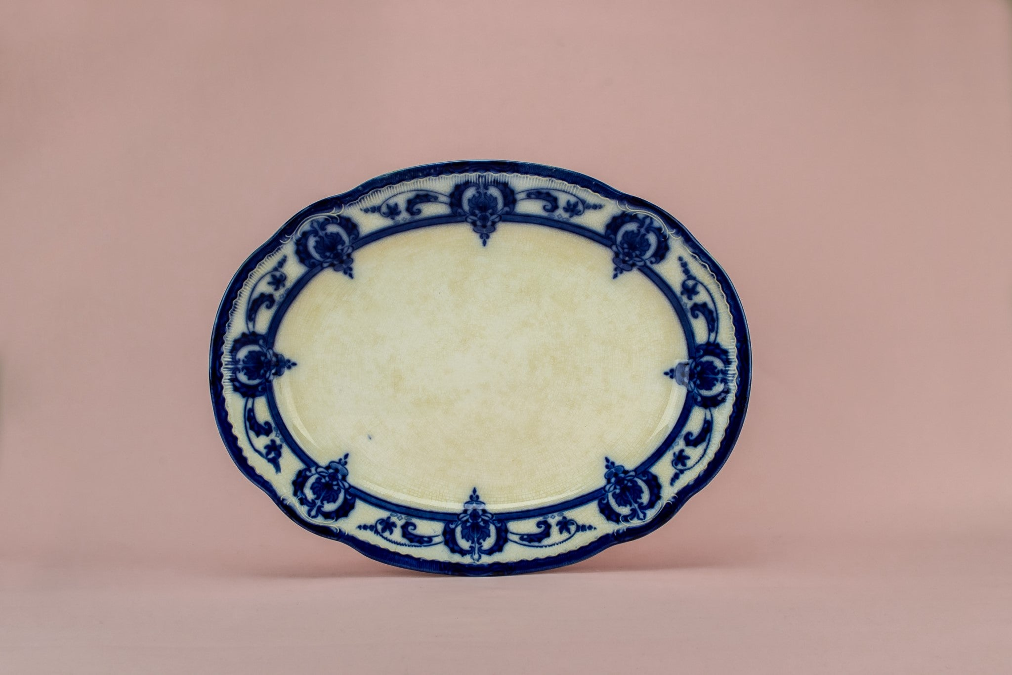 Flow blue serving platter