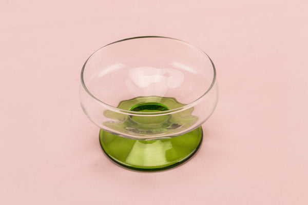 6 dessert green glass bowls