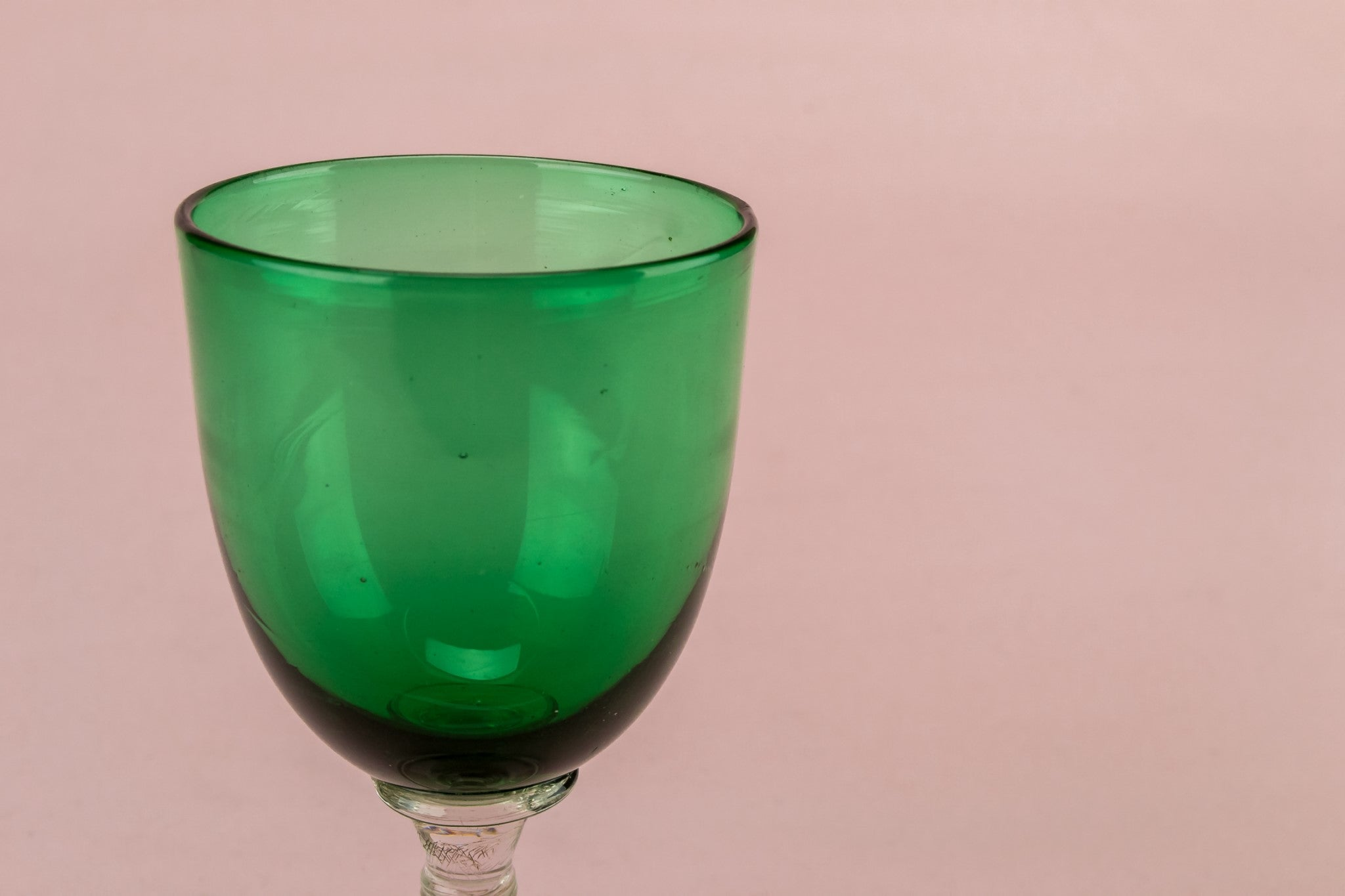 Green dessert wine glass