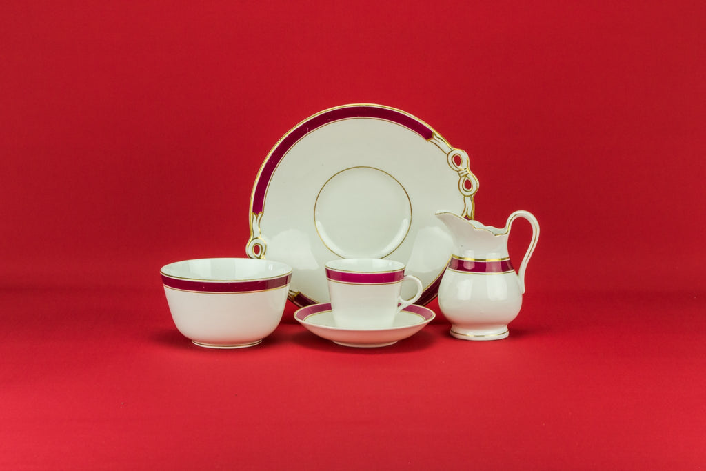 Crimson tea set for 6