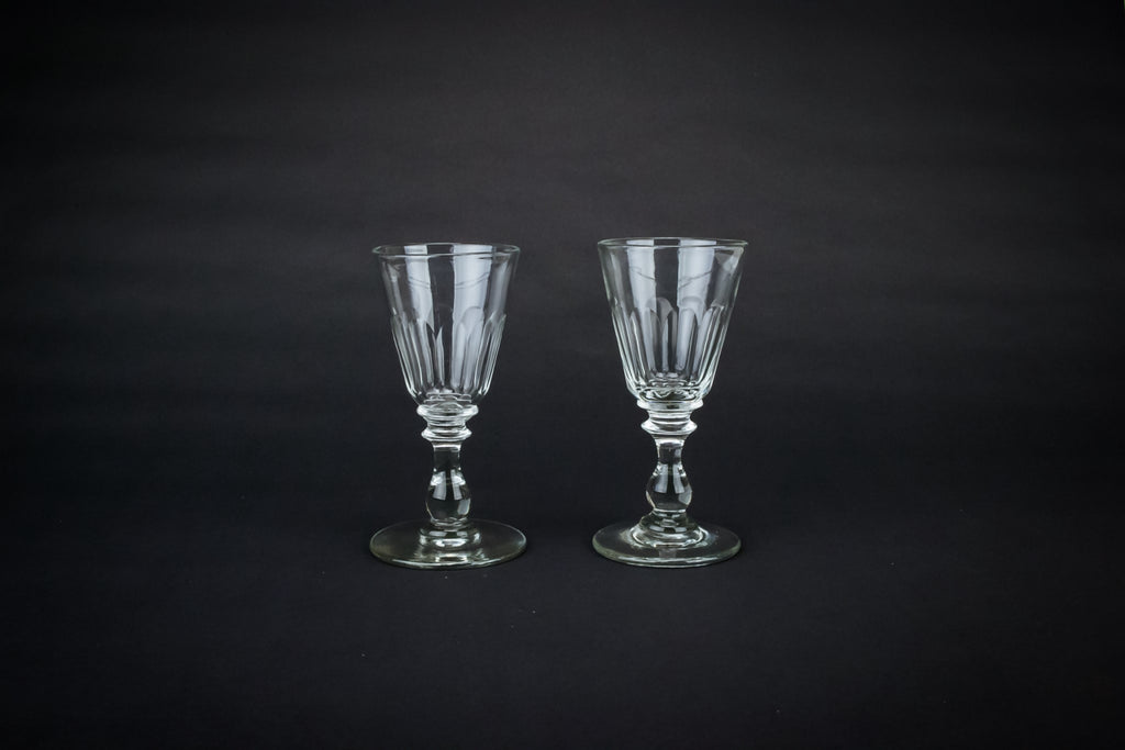 2 conical port stem glasses