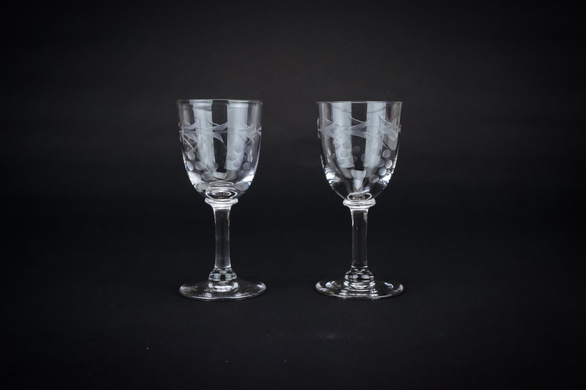 2 vodka shot stem glasses