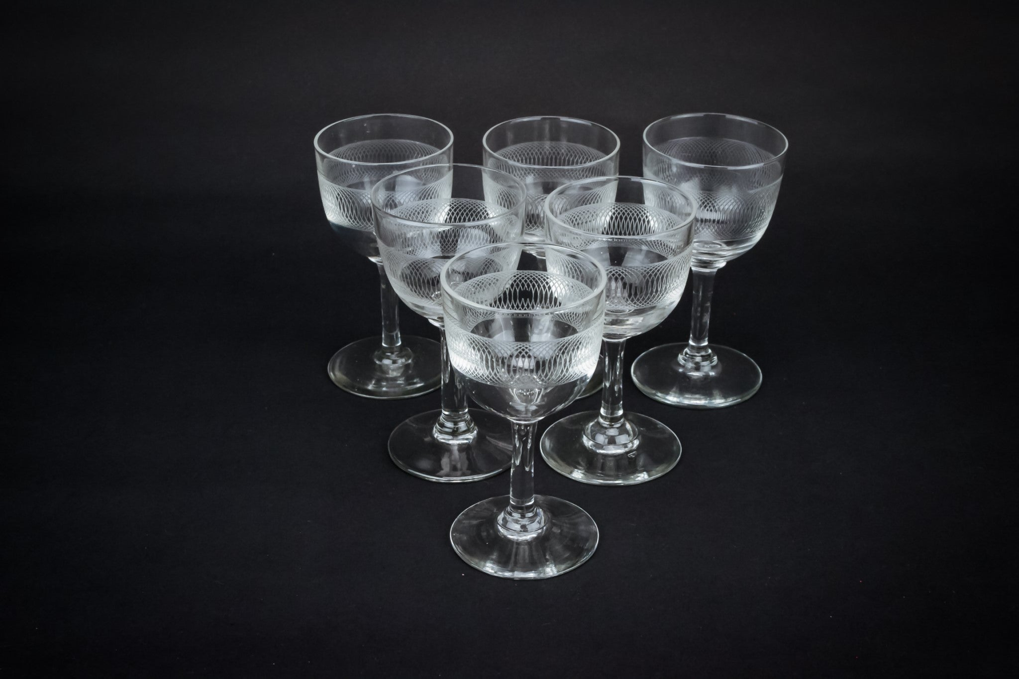 6 engraved sherry glasses