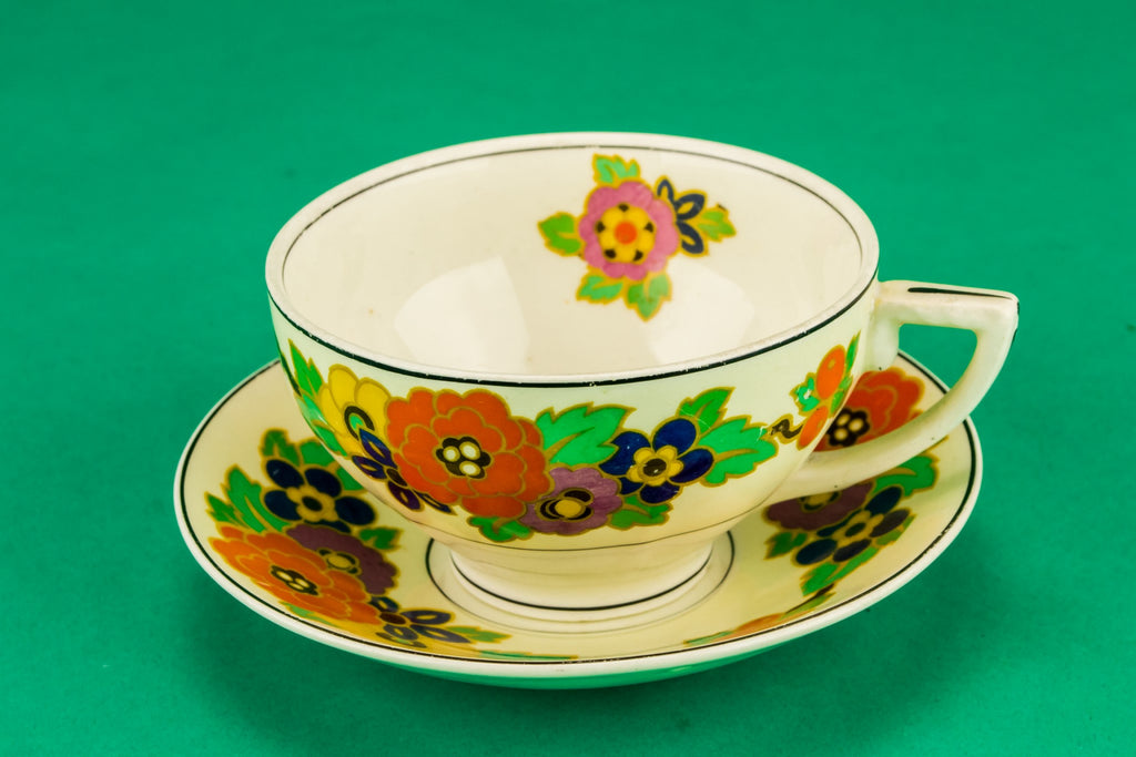 Colourful tea set for one